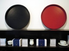 Red and black lacquered tea trays