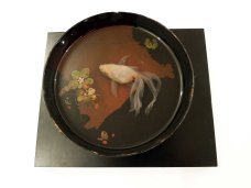 Goldfish and miniature water lilies in a lacquered bowl previously used for many years by the artist